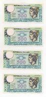 """Italia - Lotto 4 Banconote Da Lire 500 """"Mercurio"""" - Decreto 20.12.1976 -  FDS - Consecutive - Vedi Foto - (FDC8137) - 500 Lire"""