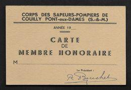 Carte Membre Honoraire Sapeurs Pompiers De Couilly Pont Aux Dames - Pompier Seine Et Marne - Pompiers