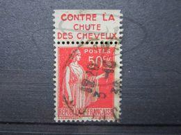 """VEND BEAU TIMBRE DE FRANCE N° 283 , TYPE III + BANDE PUBLICITAIRE """" HAHN """" !!! (c) - Publicités"""
