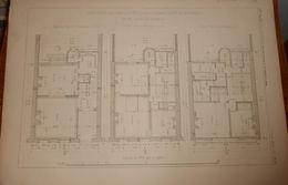 Plan D'un Petit Hôtel, Rue Jouffroy à Paris Appartenant à Madame De Plunkett. 1881. - Travaux Publics