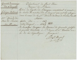SAINT IMIER  An 10 – 23.1.1802 Garantie Des Ouvrages D'or Et D'argent Fabrique Nationale - Documents Historiques