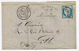 DOUBS De FESCHES LE CHATEL GC 6043 Sur N°60 Sur LSC Du 13/05/1873 - Postmark Collection (Covers)