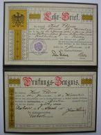 Rare Lehr Brief De 1916 (certificat D'apprentissage Allemand) De 1916 Pour Un Boulanger Né En 1899 Karl Plones Wurzelen - Diplômes & Bulletins Scolaires
