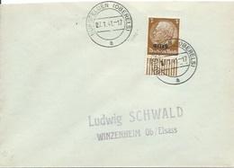 TP 8 D'Alsace Lorraine Seul Sur Enveloppe De Burgfelden  Pour Winzenheim - Elsass-Lothringen