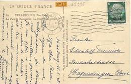 TP 11 D'Alsace Lorraine Seul Sur Carte Postale De Strasbourg Pour Hagendingen - Elsass-Lothringen