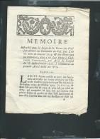 Creuse -acte  4 Pages , Memoire Pour L'attribution D'une Charge En 1715 à Guillaume Lenormand, Gueret  - Fab 41 - Documents Historiques
