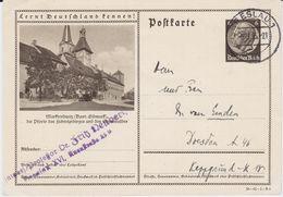 DR 3 Reich Ganzsache P 236 Bildpostkarte Marktredwitz Gel Breslau 1935 - Deutschland