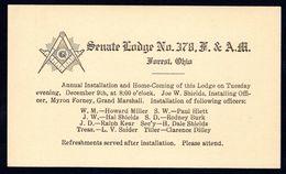 U.S 1912 - 1 C Private Postal Stationery - Freemasons, Masons, Freimaurer, Lodge - Freemasonry
