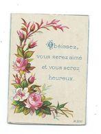 Petite CARTE .. Obéissez, Vous Serez Aimé Et Vous Serez Heureux... ROSES - Old Paper