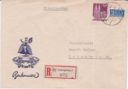 Ludwigsburg , 1949, Mi 93wg ,+ 2 Berlin,recommandé, Bonbonniere ,( 18003/119) - Zone Anglo-Américaine