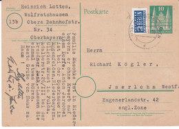 Wolfratshausen , 1948, Mi 80wg ,+ 2 Berlin,entier ,( 18003/121) - Bizone