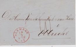 PAYS BAS 1863 LETTRE DE ALKMAAR POUR UTRECHT - Nederland
