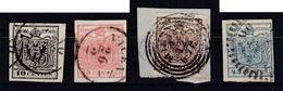 AUSTRIA / ÖSTERREICH - LOMBARDEI U. VENETIEN - 1850 (Mi. 2Y - 5Y) : COMPLET SET Of 4 STAMPS - DICKES PAPIER (ab462) - Used Stamps