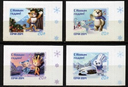 Russia, 2013, Mi. 1988-91, Y&T 7430-2, Sc. 7494-7, New Year, Mascots Of The XXII Olympic Winter Games, Sochi, Self-adhes - Unused Stamps