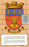 D32681 CARTE MAXIMUM CARD 1942 FRANCE - COAT OF ARMS ARMOIRIES LIMOGES CP ORIGINAL - 1940-49