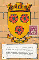 D32682 CARTE MAXIMUM CARD 1942 FRANCE - COAT OF ARMS ARMOIRIES GRENOBLE CP ORIGINAL - 1940-49