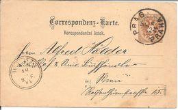 CP Envoyée De PRAGUE Pour VIENNE  09/03/1884 - Tchécoslovaquie