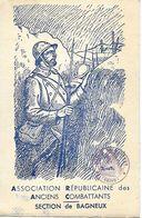 BAGNEUX RARE CARTE ASSOCIATION REPUBLICAINE DES ANCIENS COMBATTANTS WW1 1914-18 POILU TRANCHEE ILLUSTRATEUR DICOT - Bagneux