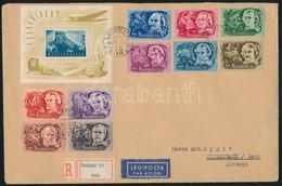 1948-49 Ajánlott Levél Svájcba 1948-as Költők Sorral és Lánchíd (II.) Blokkal - Stamps