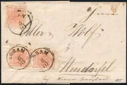 1855 3x3kr Közte Függőleges ívsarki Pár Levélen 'AGRAM' - Neudorfel  Látványos, Ritka Darab! - Stamps