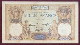 FRANCE - 1000 FRANCS  Cérès Et Mercure  Type 1927 Modifié - 08/02/1940- F.38/42 - 1871-1952 Circulated During XXth