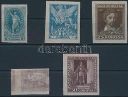 (*) 1923 Petőfi I. Fogazatlan Próbanyomat Sor Cigaretta Papíron, A 40f Kétoldali Nyomattal / Mi 369-373 Imperforate Proo - Stamps