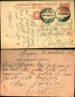 8282a)cart. Postale  N,18da Brescia A Catania 10 Cent. Leoni 3-11-18 - Storia Postale