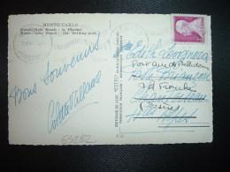 CP MONTE-CARLO BEACH LA PISCINE TP3F OBL.MEC.21 X 47 MONACO PRINCIPAUTE MONACO SEPTBRE 1947 CHAMPIONT EUROPE DE NATATION - Briefe U. Dokumente