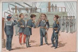 """Chromos - Militaria - Marine De Guerre - Officiers Revue Pont Bâteau - Publicité Magasin """"A La Maison Verte"""" Chartres 28 - Other"""