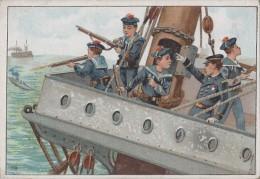"""Chromos - Militaria - Marine De Guerre - Artillerie Bâteau - Publicité Magasin """"A La Maison Verte"""" Chartres 28 - Other"""