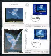 1998 FRANCE FDC 1ER JOUR SUR SOIE EMISSION COMMUNE TABLEAU DE MAGRITTE LES 2 ENVELOPPES FRANCE ET BELGIQUE - Joint Issues