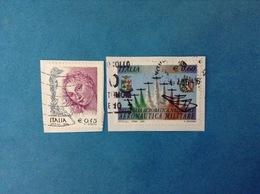 ITALIA FRANCOBOLLI USATI TWO STAMPS USED - 2004 DONNE NELL'ARTE 0,45 + 2005 AERONAUTICA MILITARE 0,60 - 6. 1946-.. Repubblica