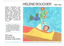 Buvard  N°  26  SANTE  SOBRIETE  Avec  La  Pilote  Avion  HELENE  BOUCHER  1908 - 1934 - Collections, Lots & Séries