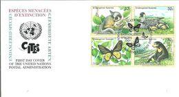 FDC NACIONES UNIDAS USA 1998 - Vlinders