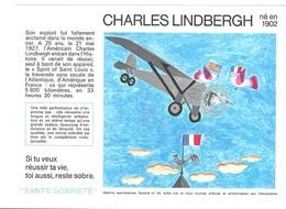 Buvard  N°  25  SANTE  SOBRIETE  Avec  Pilote  CHARLES  LINDBERGH  Né  En  1902 - Buvards, Protège-cahiers Illustrés