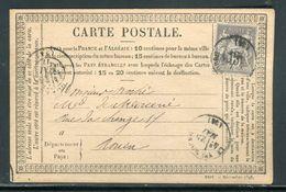 Carte Précurseur Du Neubourg Pour Rouen En 1877,  Affranchissement Type Sage - Ref F67 - Entiers Postaux