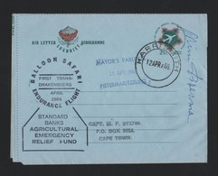 SOUTH AFRICAN AIRLETTER STATIONERY BALLOON FLIGHT PILOT SIGNED 1966 - Airmail