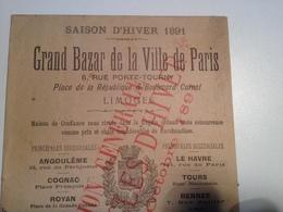 Limoges, Grand Bazar De La Ville De Paris, Livret Publicitaire, 1891, - Reclame