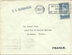 USA 5c Yellowstone 1936 Post S S NORMANDIE & BUY US SAVINGS BONDS - Etats-Unis