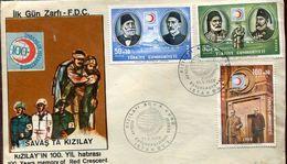 23203 Turkey,  Fdc  100. Year Memory Od Red Crescent,, 1968 - 1921-... Republik