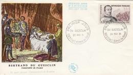 FRANCE - FDC BERTRAND DU GUESCLIN - OBLITERATION PREMIER JOUR 20.5.61 BROONS CÔTES-DU-NORD    /1 - 1960-1969