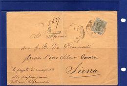 ##(ANT182)-19-5-1896- Lucca- Busta Raccomandata Per Siena  Affrancata Con Valore Isolato Cent.45, Ann.  Esagonale Barre - 1878-00 Umberto I