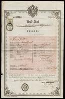 1856 Útlevél Magyar és Német Nyelvű 6kr CM Okmánybélyeggel  Várújafalui Illetőségű Személy Részére / 1856 Passport For H - Old Paper