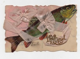 CPA En Celluloid Avec Chromo Fleurs Poisson 1er Avril Ruban En Soie Noeud - Postcards