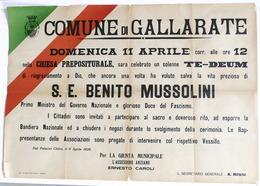 Storia Manifesto Del Comune Di Gallarate - Attentato A Mussolini - 1926 - RARO - Vieux Papiers