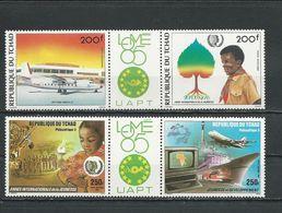 TCHAD  Scott C280-C281, C283-C284 Yvert PA289-PA290, PA297-PA298 (4) ** Cote 13,50$ 1985 - Tchad (1960-...)