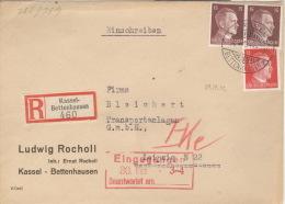 Deutsches Reich 2x789,827 Auf R-Brief Kassel-Bettenhausen 29.12.42 - Deutschland