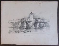 Lithographie De La Pompe Du Pont Notre Dame Signée K. Lefranc En 1836 - Litho De Bernard Et Frey - Lithografieën