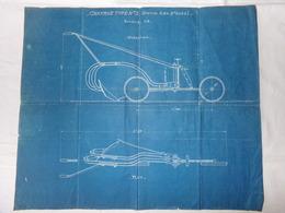 Plan Sur Papier Bleu - CHARRUE AGRICOLE - Type N°3 - Système ALBIN - Bte. S.G.D.G. - Echelle 1/5 - Old Paper