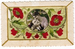 Postcard, Carte Postale, Embroidery By Hand Broderie, Flowers, Can Be Opened As Envelope (41950) - Brodées